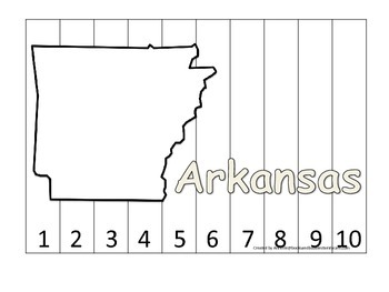 Arkansas Number Sequence Puzzle.  Learn the States preschool printable game.