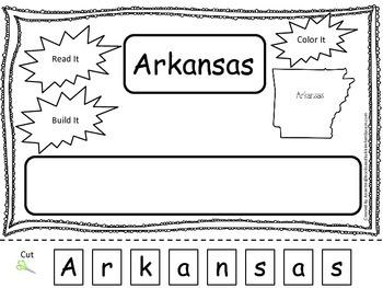 Arkansas Read it, Build it, Color it Learn the States preschool worksheet.