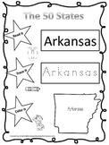 Arkansas Read it, Trace it, Color it Learn the States preschool worksheet.