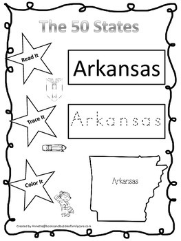 Arkansas Read it, Trace it, Color it Learn the States preschool worksheet.