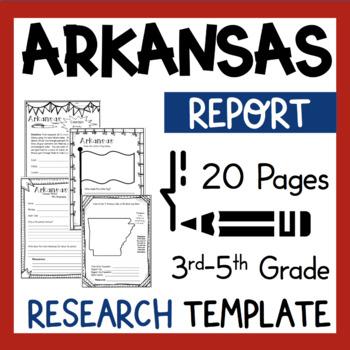 Arkansas State Research Report Project Template + bonus timeline Craftivity AR