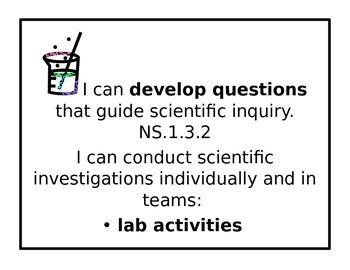 Arkansas Science Frameworks I can statements poster set 3rd Grade
