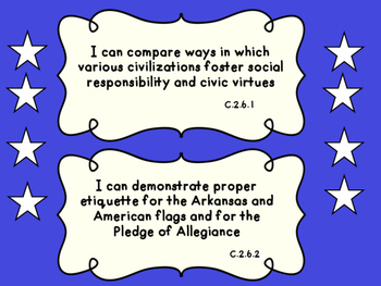 Arkansas: Sixth Grade Social Studies I Can Statement Posters
