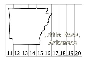 Arkansas State Capitol Number Sequence Puzzle 11-20.  Geography and Numbers.
