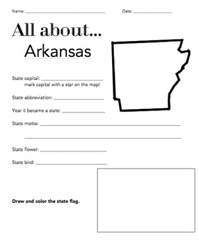 Arkansas State Fact Worksheet: Elementary Version