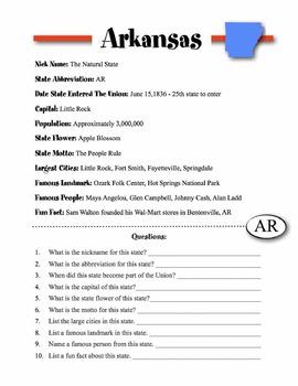 Arkansas State Information & Worksheet