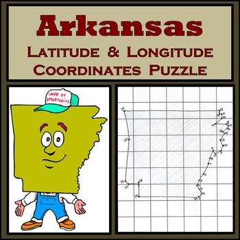 Arkansas State Latitude and Longitude Coordinates Puzzle - 30 Points to Plot