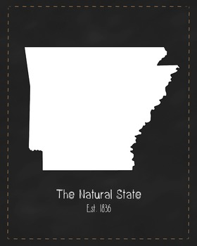 Arkansas State Map Class Decor, Government, Geography, Black and White Design