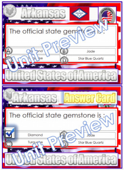 Arkansas State Symbol Question Cards (Answers) and Wordsearch PDF