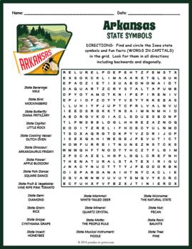 Arkansas Word Search - Arkansas State Symbols