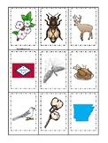 Arkansas State Symbols themed Memory Match Game. Preschool Game
