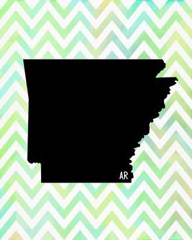 FREEBIE! Arkansas Chevron State Map Class Decor, Government, Geography