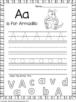 """Armadillo and Letter """"A"""" Crafts and Letter Practice Pages"""
