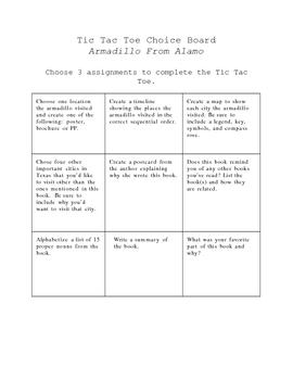 Armadillo From Amarillo Differeniated Choice Board