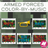 Armed Forces   Memorial Day   Veterans Day Color-by-Note - Distance Learning