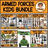 Community Helper Kids Clipart Bundle l Set 2: Armed Forces