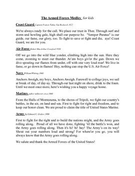 Armed Forces Medley for kids Lyric Sheet