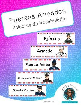 Armed Forces -Vocabulary Words in Spanish- Fuerzas Armadas Vocabulario