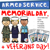 Armed Services, Memorial Day, & Veterans Day Packet (ELA & SS Materials)