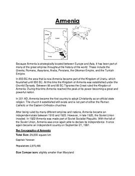Armenia Worksheet