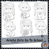 Armful Girls Go To School color your own