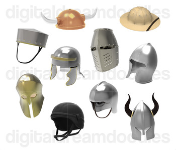 Armor Helmet Clip Art - Soldier Battle Helm Digital Graphics
