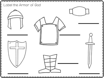 Armor of God Activites and Worksheets Packet. Tracing, Coloring, Games, Flaschar