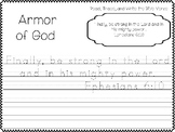 Armor of God Bible Verse Worksheets. Bible Study Handwriting Worksheets.