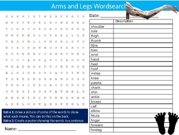Arms and Legs Wordsearch Sheet Starter Activity Keywords Cover Biology Anatomy
