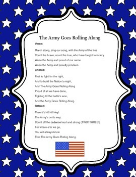 Army Goes Rolling Along Lyrics by Finding Montessori | TpT