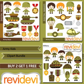 Army Kids clip art (3 packs)