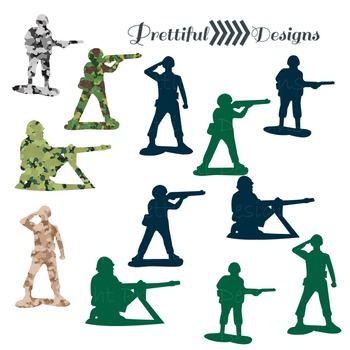 Army Men Clip Art in Navy, Green and Camouflage