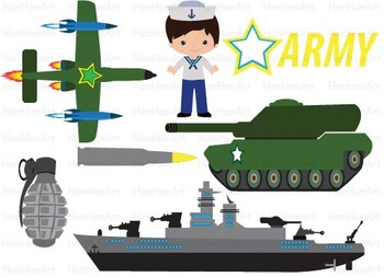 Army Navy Clip Art gun Aircraft american Military soldier super hero party -060-