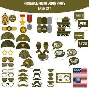 Army Printable Photo Booth Prop Set