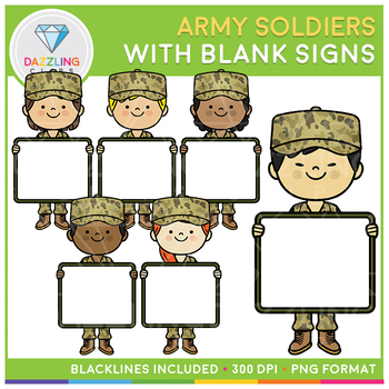 Army Soldiers holding blank signs Clip Art