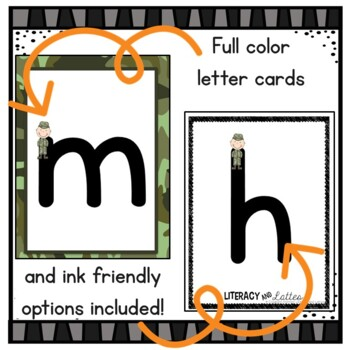 Army Theme Letter Cards