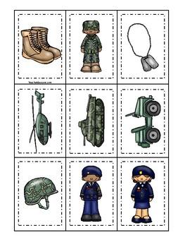Army themed Memory Match Game. Printable Preschool Game