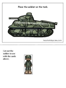 Army themed Positional Game. Printable Preschool Game