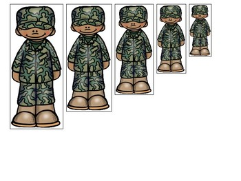 Army themed Size Sequence. Printable Preschool Game