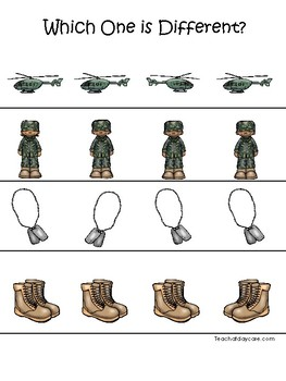Army themed Which One is Different. Printable Preschool Game