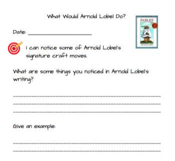 Arnold Lobel Author's Craft - Quick Reader's Response