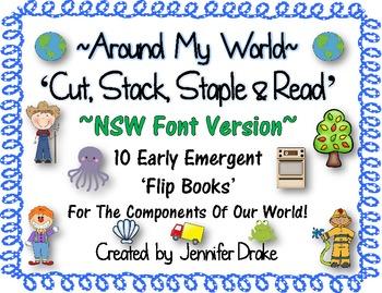 Around My World 'Cut, Stack, Staple, Read' Emergent Flip Books ~NSW Font Version