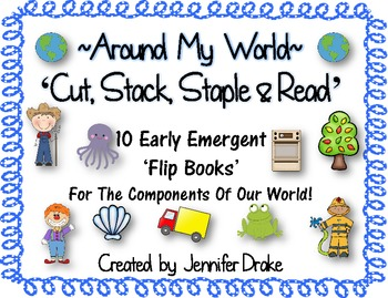 Around My World 'Cut Stack Staple & Read' Flip Books for Emergent Readers!
