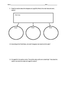 Reading Street- Around One Cactus Comprehension Worksheet