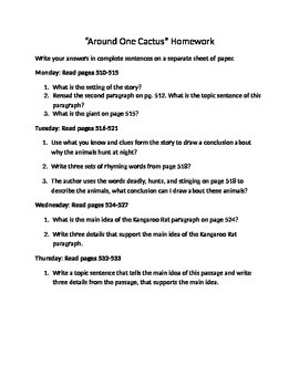 Around One Cactus Homework Questions