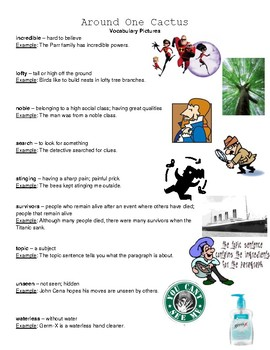 Around One Cactus Reading Street Vocabulary