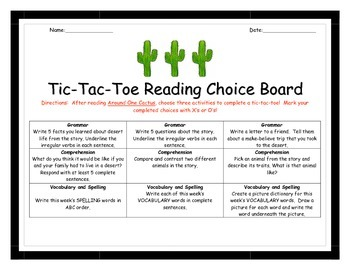 Around One Cactus Tic-Tac-Toe Activity Choice Board!