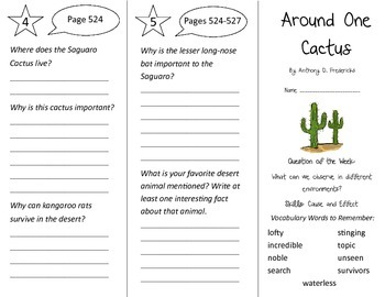 Around One Cactus Trifold - Reading Street 3rd Grade Unit 3 Week 5