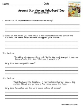 2014 Around Our Way on Neighbors' Day ReadyGen Lesson 14 Text Features