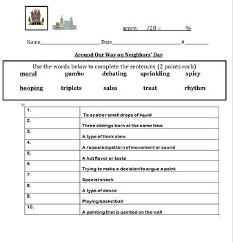 Around Our Way on Neighbors' Day Vocabulary and Quizes *Mod and ENL included